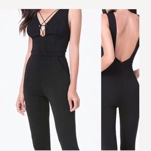 New Bebe Front Plunge Bodycon Jumpsuit